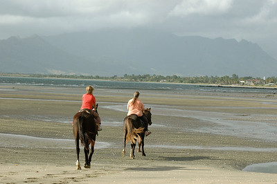 Mara and Pam riding on the beaches of Nadi bay, from Club Fiji resort.