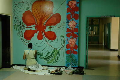 Lautoka hospital: a local artist was adding color to many of the hallways. Fiji.