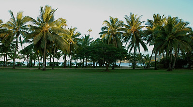 Our view was wonderful, across the lawn to the beach and cove. [Malolo lailai, Fiji]]