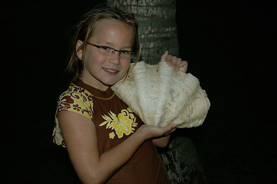 Mara shows off the giant clam shell that Daddy found on Malolo lailai island, Fiji.