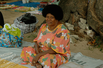 At the Malolo island village we shop for crafts. [Fiji]