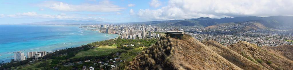 Diamond Head View to Waikiki Panorama