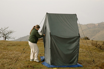 Himalaya Trek, Camp 1: the toilet tent, constructed over a fresh hole.