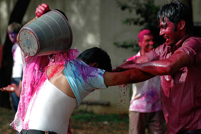 Students celebrate Holi at IISc: soon, a bucket is the fastest way to welcome newcomers!