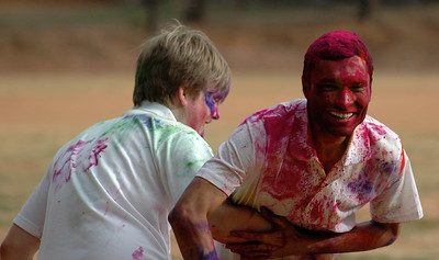 Students celebrate Holi at IISc: even this foreign student gets in the fun.