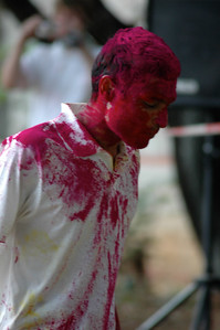 Students celebrate Holi at IISc: colored powder is thrown!