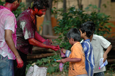 Students celebrate Holi at IISc: local kids come looking for some colors.