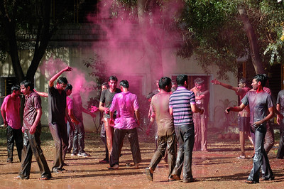 Students celebrate Holi at IISc: a puff of more colored powder.