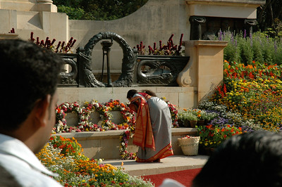 IISc Founder's Day celebration; department heads place wreaths at the foot of the statue of IISc founder Tata.