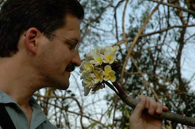 David smells the flowers on the IISc campus in Bangalore [photo by Mara].