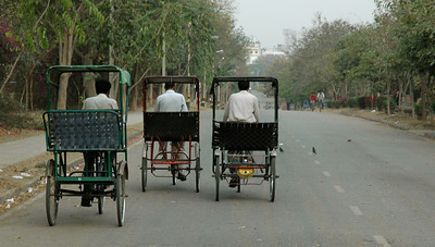 IIT Delhi: cycle rickshaws search for customers early in the morning.