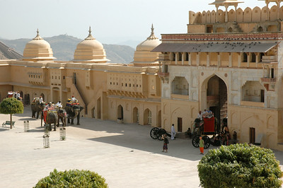 Amber Fort, Jaipur: the main courtyard and elephant gate.