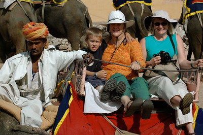 Andy, Pam, and Amy ride an elephant to the Amber Fort in Jaipur.