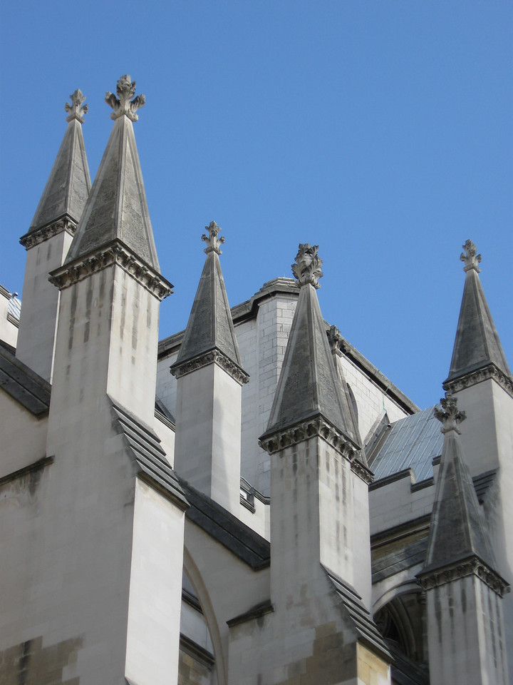 Architectural detail of some of the spires of Westminster Abbey.