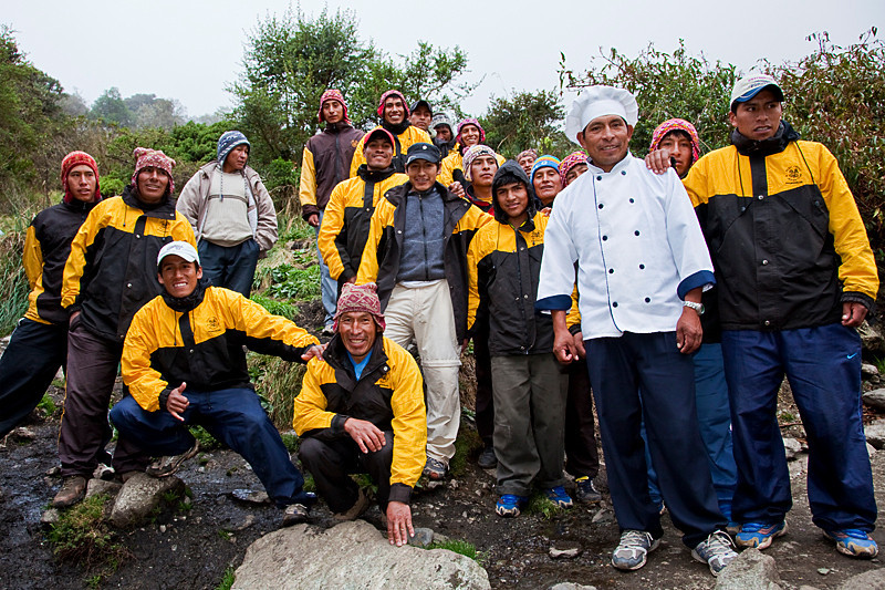 PeruTreks' hardworking porters and cooks for the Inca Trail trek.<br /> <br /> They're the people that enable us tourists to have a fun and safe time on the trek.