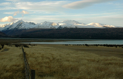 Lake Pukaki is the output of the east-slope glaciers. New Zealand south island.