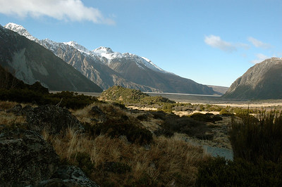 """this is """"big"""" country, with flat valleys and steep mountains. On a walk near Aoraki (Mt.Cook), New Zealand."""