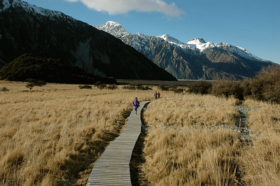 Hiking to Kea Point in the shadow of Mt. Cook range in Aoraki National Park, New Zealand.