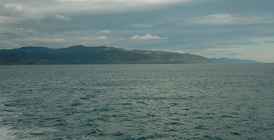 New Zealand. Cook Strait: A view back at the southern tip of the North Island.