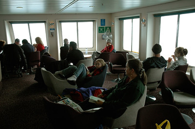 New Zealand Ferry across Cook Strait. We sat in the forward lounge. There was also a movie theater.