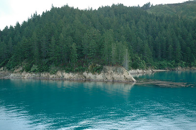 New Zealand Cook Strait. The water is glacial blue.