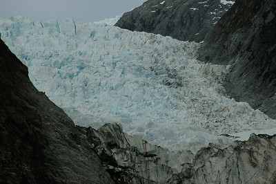 A steep icefall just above the main face of the glacier. South Island, New Zealand.