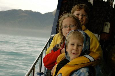 John, Mara, and Andy on the lookout for whales.  Kaikoura whale watching, New Zealand.