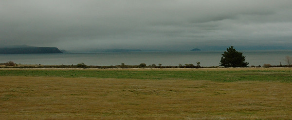 Mists over Lake Taupo, a caldera and NZ's largest lake.