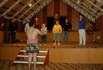 Te Puia - now it's our turn to learn some of the haka. (Rotorua, New Zealand)