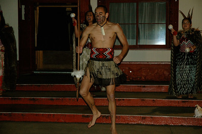 Te Puia - we pass the test and are welcomed inside. (Rotorua, New Zealand)