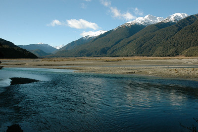 Where the Haast river meets the Landsborough river. South Island, New Zealand.