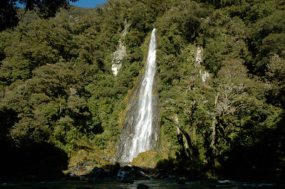 Thunder Creek falls. South Island, New Zealand.