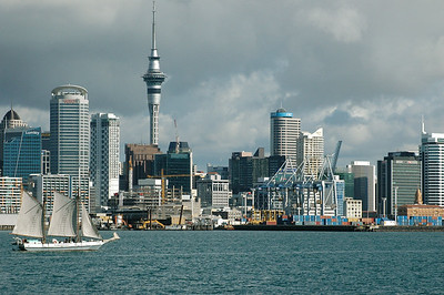 Auckland from the harbor, with sailboat.