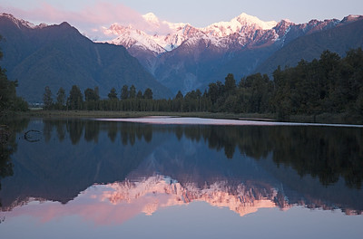 fading.... Mt. Tasman and Mt. Cook, at sunset.