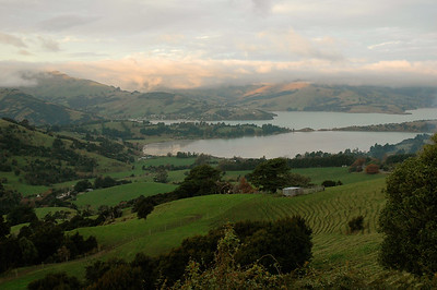 Akaroa peninsula, late afternoon. New Zealand.