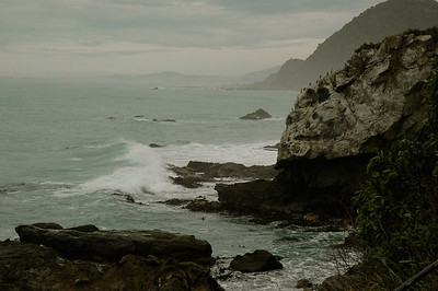 The coastline here is rugged, and the day is cloudy.  New Zealand. South Island, east coast.