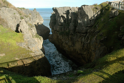 Punakaiki is known for its limestone cracks and blow-holes. South Island, New Zealand.