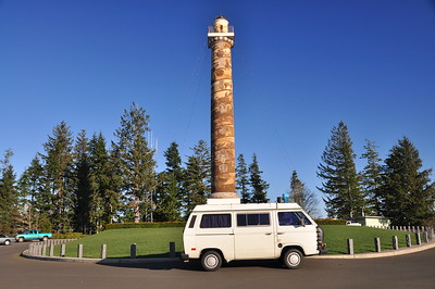 Westy parked in front of the Astoria Column.