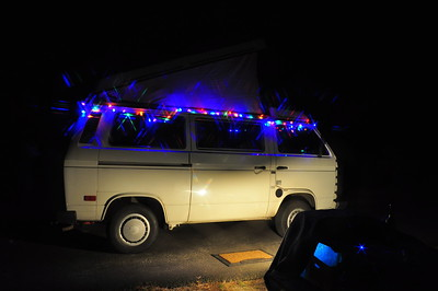 Christmas lights on our Westy.