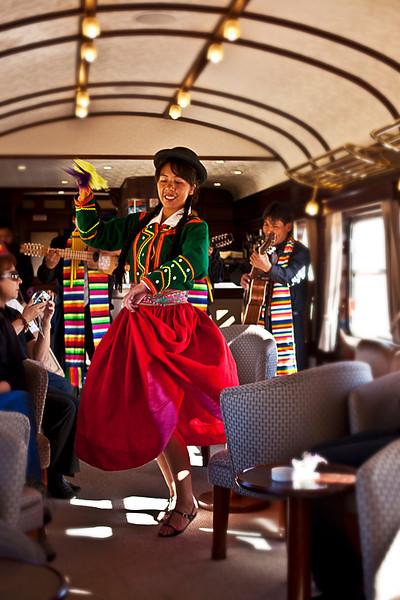 Dancing Senorita on Andean Explorer train.