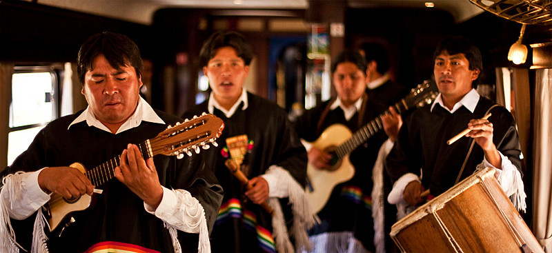 Band on Andean Explorer train from Cusco to Puno.