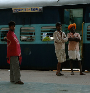 Sawai Madhopur train station, near Ranthambore; the country people stare at us as much as we stare at them.