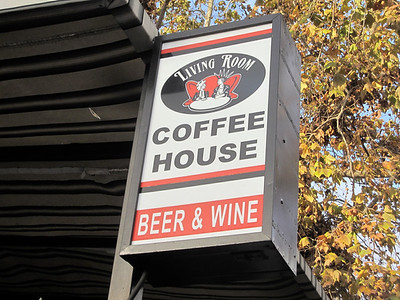Living Room Coffee House sign San Diego, CA