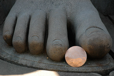 """Shravanabelagola: that copper disk is about 15"""" across."""