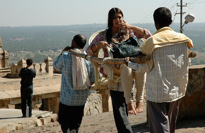 Shravanabelagola: of course, for a fee you can be carried up and down the hill.