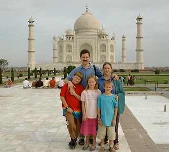 Family photo at the Taj Mahal!  David, Pam, John, Mara, Andy.