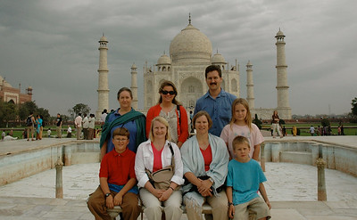 Visiting the Taj Majal - the whole family.