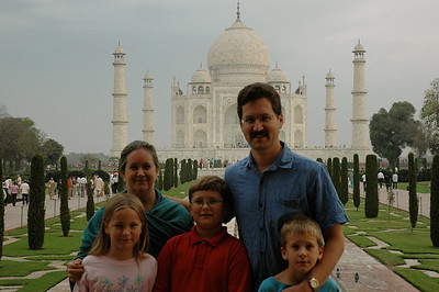 Family photo at the Taj Mahal!  Mara, Pam, John, David, Andy.