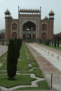 The Taj Mahal: a look back at the main entry gate.