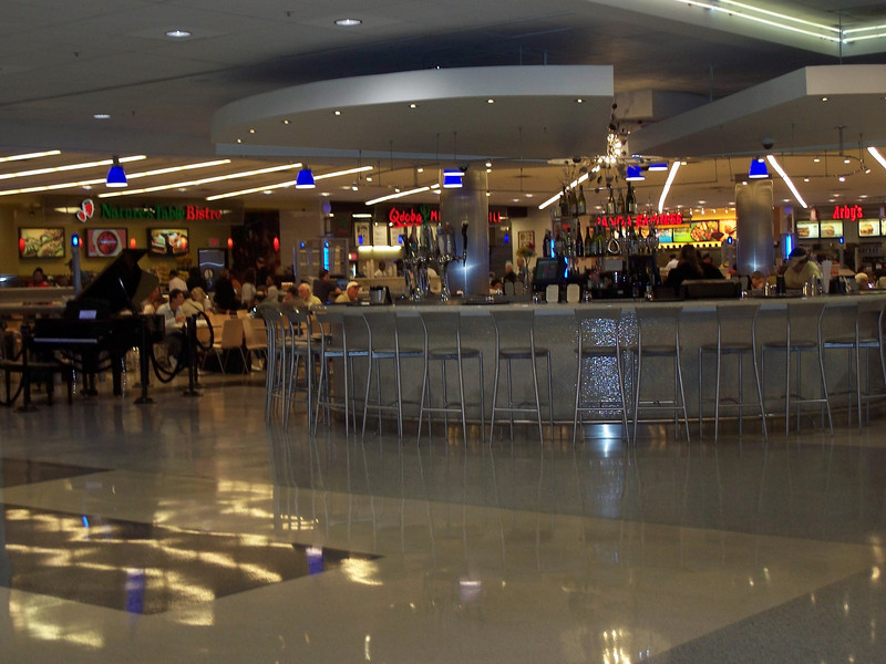 Terminal E in Atlanta is the International terminal...and they have a huge bar and piano in the food court. Awesome.